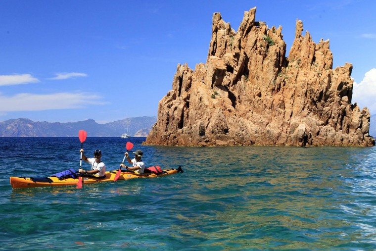 Racers ride kayaks during the 20th Corsica Raid race in Porto on June 7, 2016 on the French island of Corsica. (PASCAL POCHARD-CASABIANCA/AFP/Getty Images)