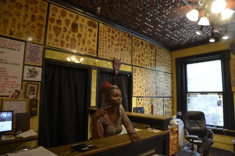 Baltimore native Rampage Reese used to be a dancer at a club on the Block; she's now a full-time piercer. (Christina Tkacik/Baltimore Sun)