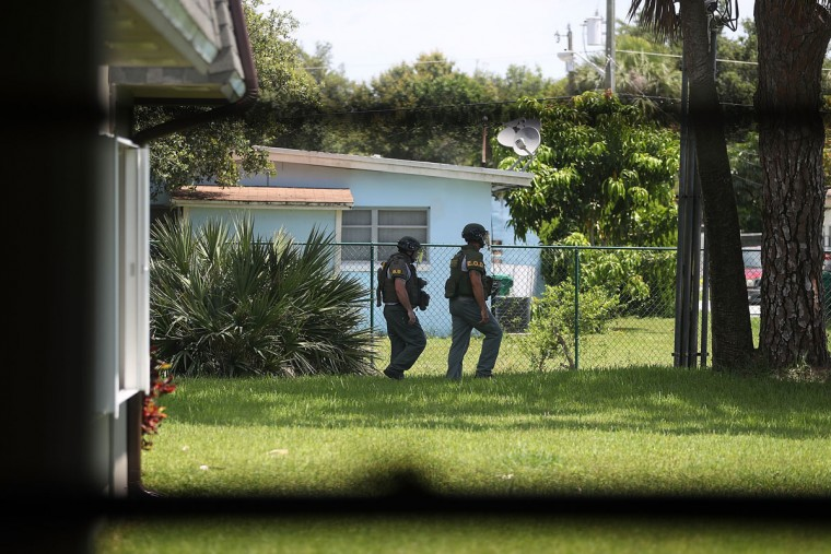 FORT PIERCE, FL - JUNE 12: A Bomb Disposal Unit checks for explosives around the apartment building where shooting suspect Omar Mateen is believed to have lived on June 12, 2016 in Fort Pierce, Florida. The mass shooting at Pulse nightclub in Orlando, Florida killed at least 50 people and injured 53 others in what is the deadliest mass shooting in the country's history. (Photo by Joe Raedle/Getty Images)