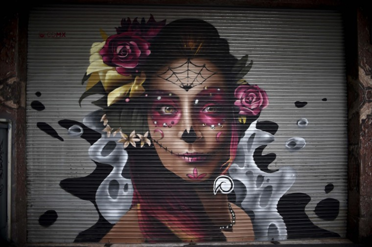 Close up of one of the murals painted on metallic shutters in Mexico City. (YURI CORTEZ/AFP/Getty Images)