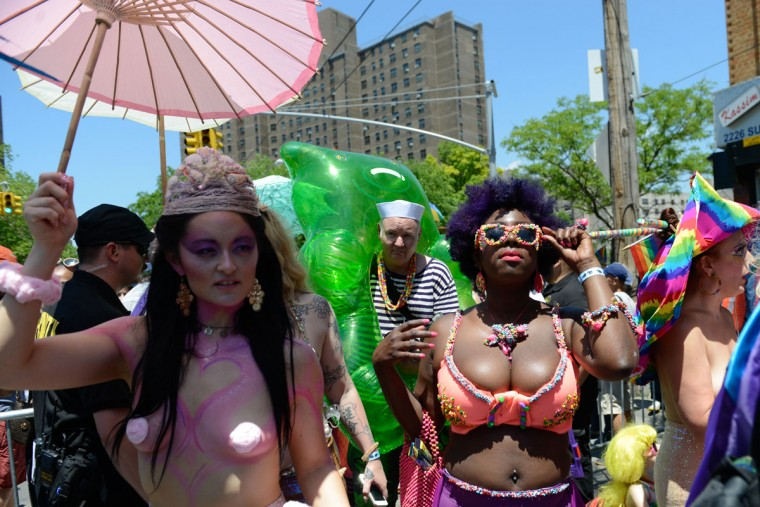 NEW YORK, NY - JUNE 18 : People participate in Coney Island's annual Mermaid Parade on June 18, 2016 in the Brooklyn borough of New York City. The 34th annual parade celebrates mythology, artistic spirit and seaside culture. (Photo by Stephanie Keith/Getty Images)