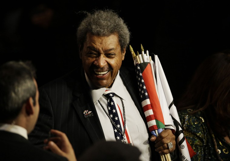 Boxing promoter Don King arrives for Muhammad Ali's memorial service Friday, June 10, 2016, in Louisville, Ky. (AP Photo/David Goldman)