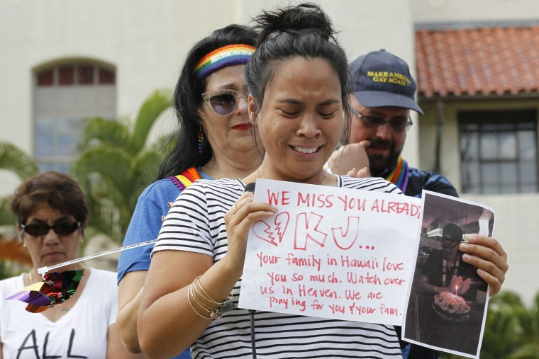 In this Sunday, June 12, 2016 photo, during a vigil held at Honolulu Hale, Kourtney Baltazar, remembered her friend KJ Morris who was killed in the Orlando, Fla., nightclub mass shooting, in Honolulu. A gunman killed dozens of people in a massacre at a crowded gay nightclub in Orlando on Sunday, making it the deadliest mass shooting in modern U.S. history. (George F. Lee/The Star-Advertiser via AP)