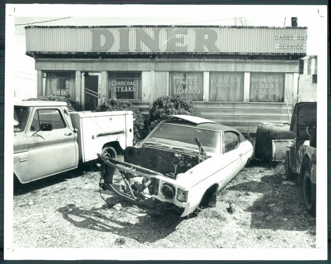 Junk cars outside the old Magnolia Diner, 1981. (Baltimore Sun)