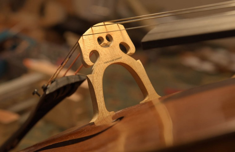 The new bridge on this cello was designed and crafted by Perrin & Associates Fine Violins. (Algerina Perna/Baltimore Sun)
