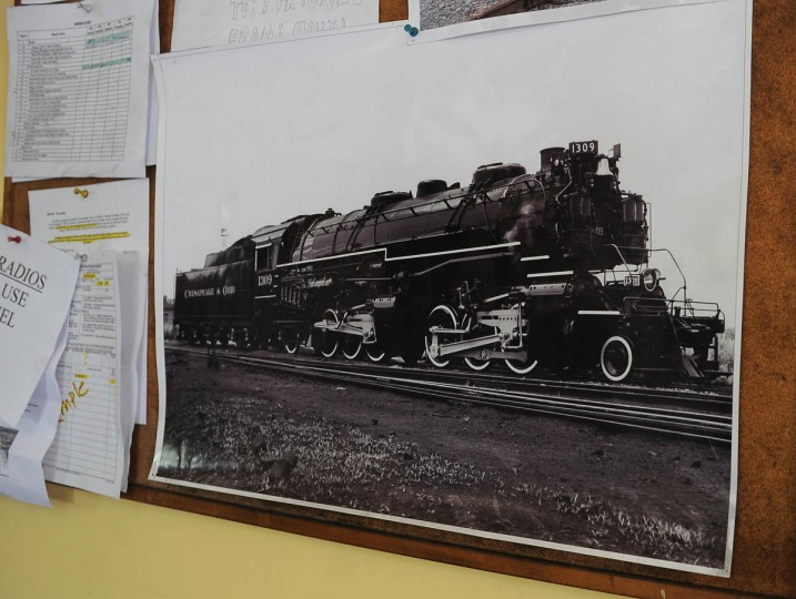 A picture of the Chesapeake and Ohio No. 1309 steam locomotive is on a bulletin board in the shop at the Western Maryland Scenic Railroad yard. Restoration work is being done on the locomotive, which was built in 1949 and was a part of the B & O Railroad Museum collection. When the restoration is complete, probably next year, the locomotive will pull passenger cars along the scenic railroad for the 16 mile round trip between Cumberland and Frostburg. (Barbara Haddock Taylor, Baltimore Sun)