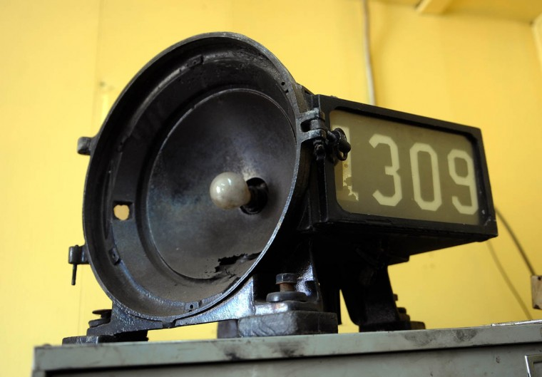 The 1309 locomotive headlamp waits on a shelf to be restored at the Western Maryland Scenic Railroad yard, where restoration work is being done on the Chesapeake and Ohio Railroad No. 1309 steam locomotive. When the restoration is complete, probably next year, the locomotive will pull passenger cars along the scenic railroad, which makes a 16 mile round trip between Cumberland and Frostburg. (Barbara Haddock Taylor, Baltimore Sun)