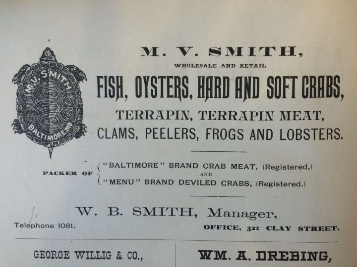 An 1890 advertisement for terrapin, once considered a delicacy in Maryland. (Christina Tkacik/Baltimore Sun)
