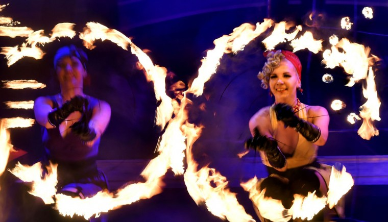 Artists perform during International Kiev Fire Fest show in Kiev late on June 11, 2016. (SERGEI SUPINSKY/AFP/Getty Images)