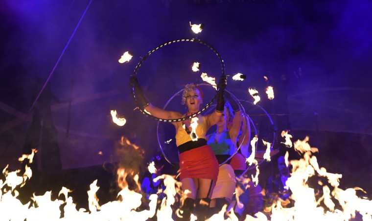 Artists perform during the International Kiev Fire Fest show in Kiev late on June 11, 2016. (SERGEI SUPINSKY/AFP/Getty Images)