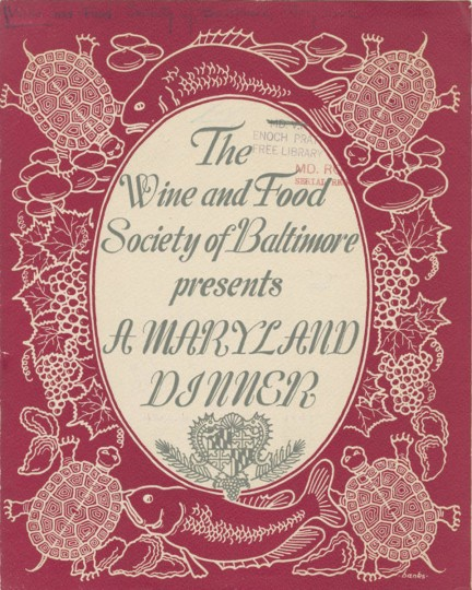 "Terrapin was a staple at fancy banquets and dinners in the 18th and 19th centuries, as this menu from a 1947 dinner at the Belvedere Hotel demonstrates. The inside menu reveals lists the courses for the ""terrapin and seafood dinner,"" presented by the Wine and Food Society of Baltimore, Maryland. ""The Maryland diamond-back terrapin"" was served as the third course, along with Maryland beaten biscuits. (Image courtesy of Digital Maryland/Enoch Pratt Free Library/State Library Resource Center in Baltimore)"