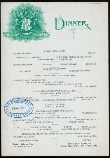 Terrapin even found its way West to St. Louis, Missouri, onto the 1899 menu of the Hotel Baltimore. (Image courtesy of the New York Public Library)