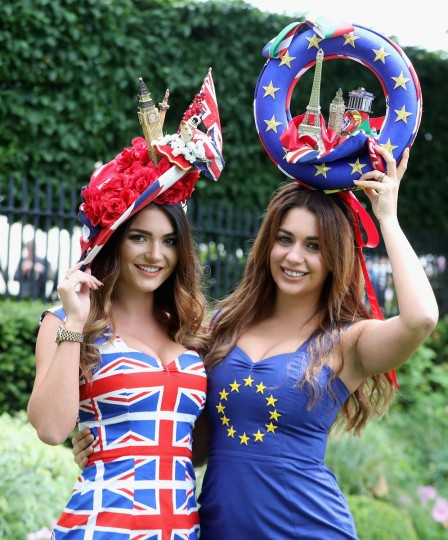 A woman in a 'Brexit vote' themed hat arrives at Royal Ascot 2016 at Ascot Racecourse on June 14, 2016 in Ascot, England. (Photo by Chris Jackson/Getty Images)