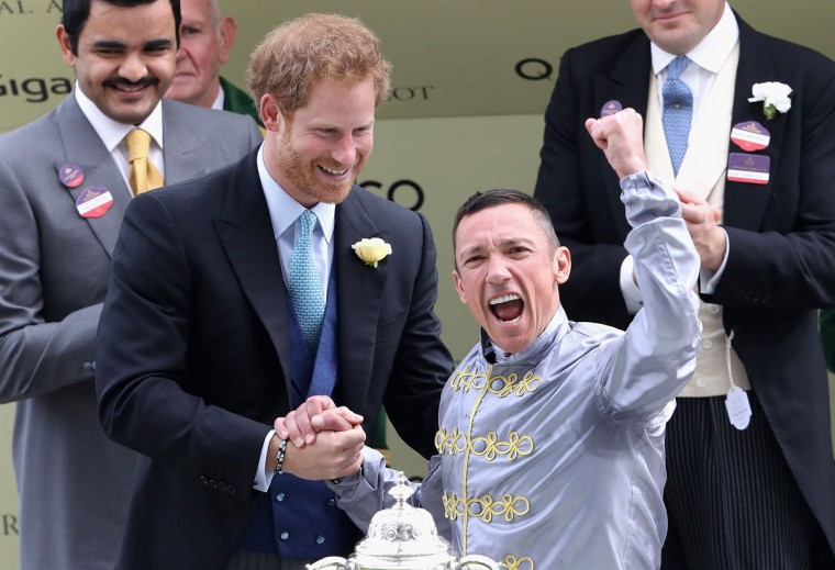 Prince Harry presents the St James Palace Stakes to Frankie Dettori at Royal Ascot 2016 at Ascot Racecourse on June 14, 2016 in Ascot, England. (Photo by Chris Jackson/Getty Images)