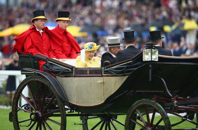Queen Elizabeth II, Prince Philip, Duke of Edinburgh, Prince Harry and Prince Andrew, Duke of York during the Royal Procession on day 1 of Royal Ascot at Ascot Racecourse on June 14, 2016 in Ascot, England. (Photo by Charlie Crowhurst/Getty Images for Ascot Racecourse)