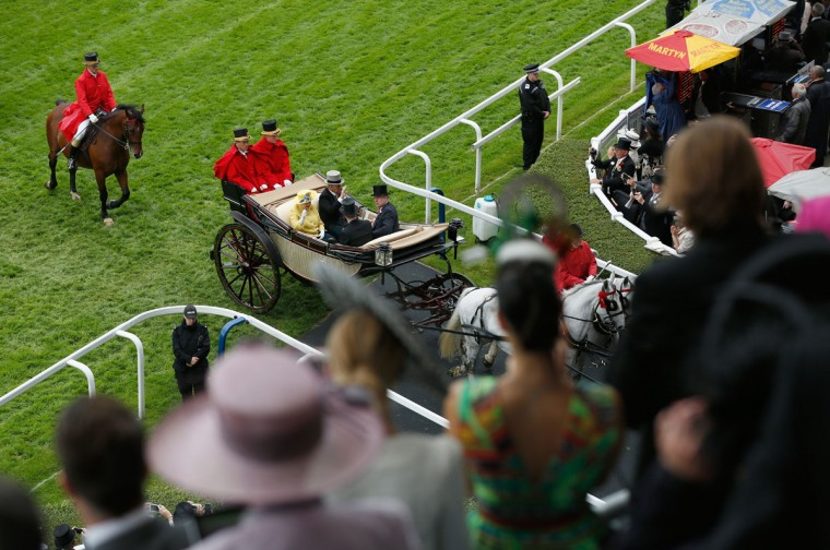 Queen Elizabeth II, Prince Philip, Duke of Edinburgh, Prince Harry and Prince Andrew, Duke of York arrive by carriage as seen from the Royal Enclosure, Level 4 on day 1 of Royal Ascot at Ascot Racecourse on June 14, 2016 in Ascot, England. (Photo by Tristan Fewings/Getty Images for Ascot Racecourse)