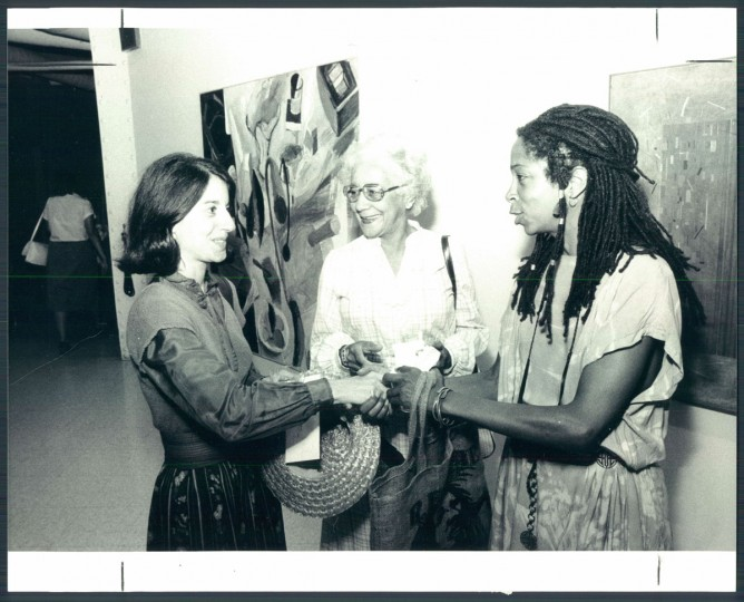 Artist Carol Samour, Margaret Armstrong and Maria Broom at the 1983 Artscape. (Phillips/Baltimore Sun)