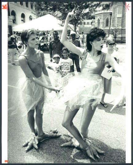 Artscape's Isisha Wright and Margo Brown hold a pose. 1983. (Phillips/Baltimore Sun)