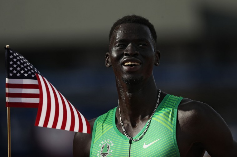 Charles Jock, third place, celebrates after the Men's 800 Meter Final during the 2016 U.S. Olympic Track & Field Team Trials at Hayward Field on July 4, 2016 in Eugene, Oregon. (Photo by Patrick Smith/Getty Images)