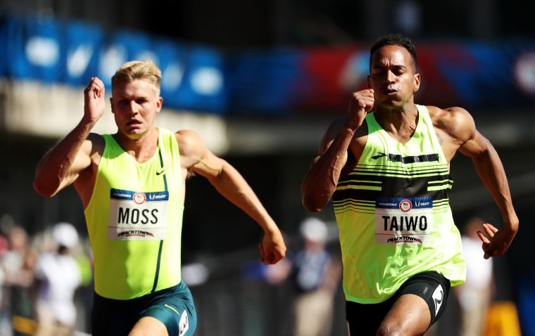 Miller Moss and Jeremy Taiwo run in the Men's 100m Decathalon during the 2016 U.S. Olympic Track & Field Team Trials at Hayward Field on July 2, 2016 in Eugene, Oregon. (Photo by Patrick Smith/Getty Images)