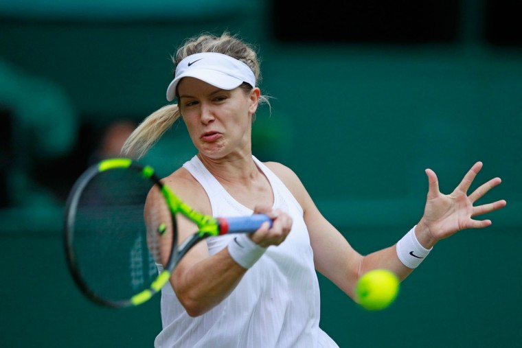 Eugenie Bouchard of Canada plays a forehand during the Ladies Singles second round match against Johanna Konta of Great Britain on day four of the Wimbledon Lawn Tennis Championships at the All England Lawn Tennis and Croquet Club on June 30, 2016 in London, England. (Photo by Adam Pretty/Getty Images)
