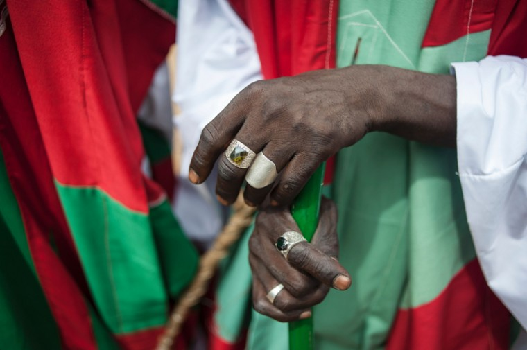 Rings are worn on the hands of a member of the Emir royal guard Wednesday during the Durbar Festival. Kano is Nigeria's largest Muslim city and celebrates Eid al-Fitr with the Durbar festival, an event that sees a parade through the streets of the city on horseback accompanied by musicians. (STEFAN HEUNIS/AFP/Getty Images)