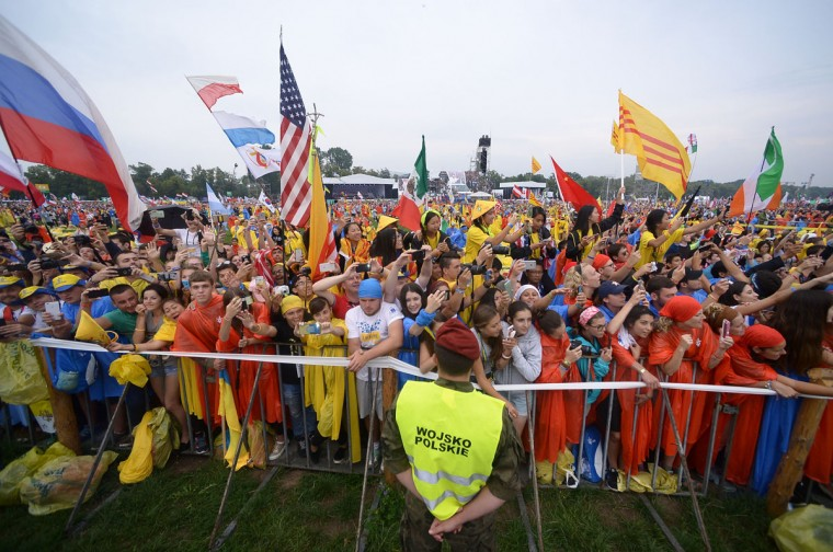 Pilgrims attend the opening ceremony of the World Youth Days on July 28, 2016, in Krakow, Poland. (FILIPPO MONTEFORTE/AFP/Getty Images)