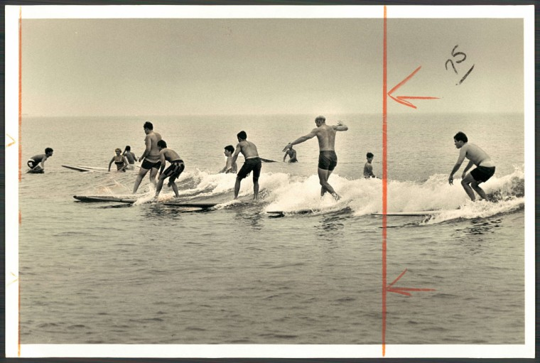 Surfing at Indian River Inlet, Delaware, above Ocean City, MD. June 9, 1968. (Klender/Baltimore Sun)