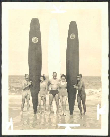 """Surfboard experts."" Photo dated June 14, 1936."