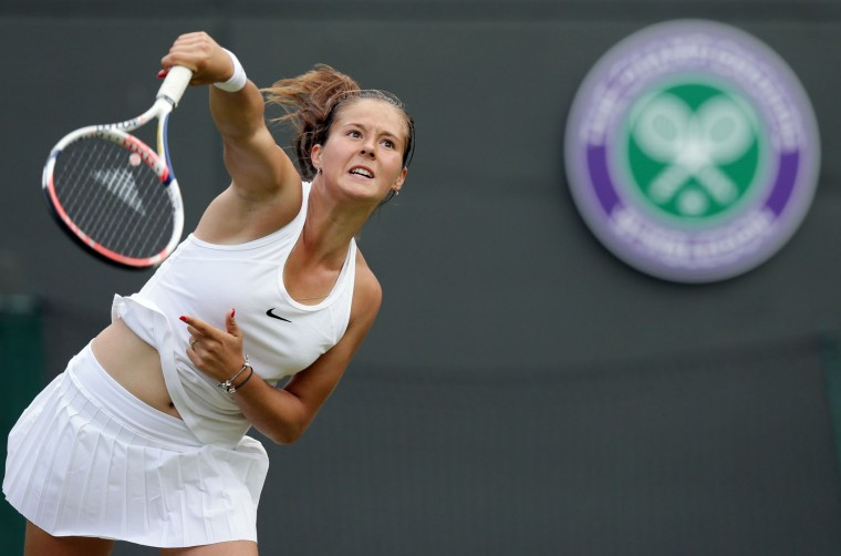 Daria Kasatkina of Russia serves to Venus Williams of the U.S during their women's singles match on day five of the Wimbledon Tennis Championships in London, Friday, July 1, 2016. (AP Photo/Tim Ireland)