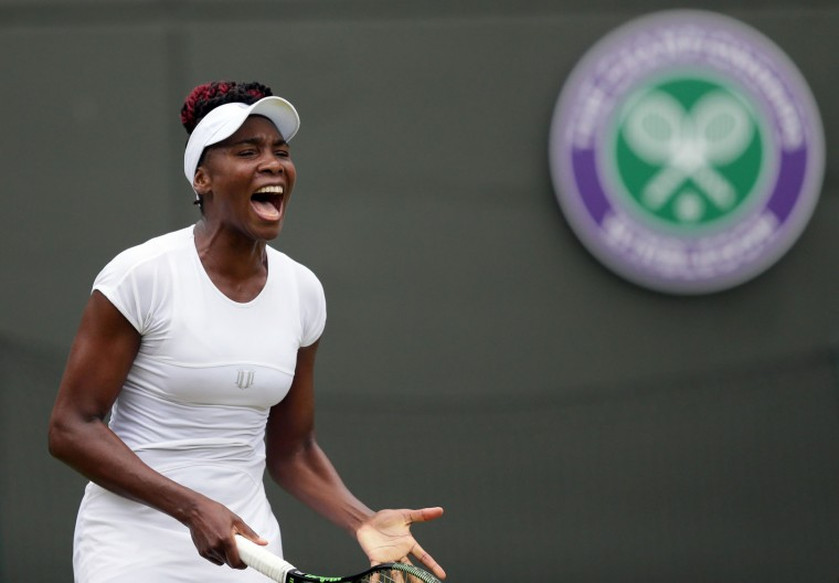 Venus Williams of the U.S calls out during her women's singles match against Daria Kasatkina of Russia during day five of the Wimbledon Tennis Championships in London, Friday, July 1, 2016. (AP Photo/Tim Ireland)