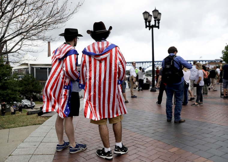 Supporters watch during a rally for Republican presidential candidate Donald Trump at Settlers Landing Park on Monday, July 18, 2016, in Cleveland. The Republican National Convention starts today. (AP Photo/Patrick Semansky)
