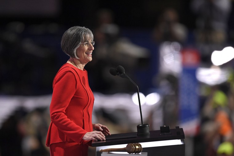 Linda Lingle, former governor of Hawaii, addresses the delegates during the opening day of the Republican National Convention in Cleveland, Monday, July 18, 2016. (AP Photo/Mark J. Terrill)
