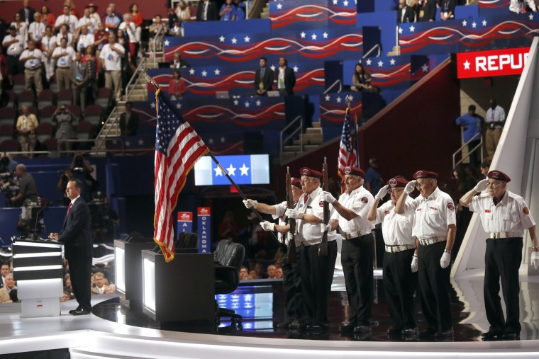 Cuyahoga County Veterans present the colors during the opening day of the Republican National Convention in Cleveland, Monday, July 18, 2016. (AP Photo/Paul Sancya)