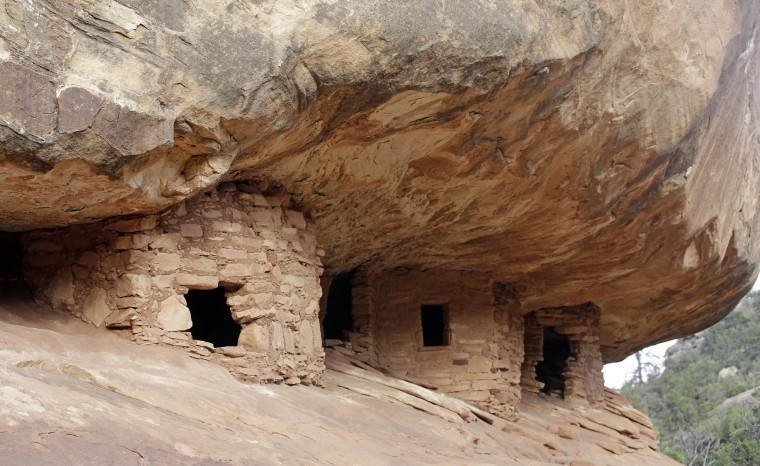 "This June 22, 2016, photo, the ""House on Fire"" ruins are shown in Mule Canyon , near Blanding, Utah. These Anasazi ruins are found along a canyon hiking path in a dry river bed. They are one of an estimated 100,000 archaeological sites within a 1.9-million acre area of Utah's red rock country that a coalition of American Indian tribes and environmentalists want President Barack Obama to designate as a national monument to ensure protections of lands considered sacred. (AP Photo/Rick Bowmer)"