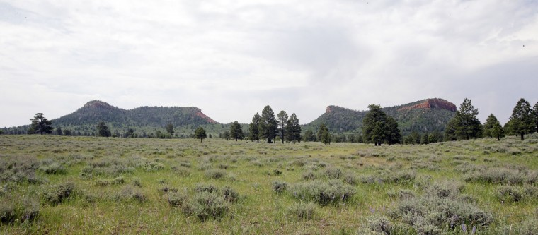 "In this June 22, 2016, photo, the ""Bears Ears"" buttes are shown near Blanding, Utah. U.S. Interior Secretary Sally Jewell is visiting the area this week for a fact-finding mission to meet with proponents and opponents marking the latest indication the Obama administration is giving serious consideration to the ""Bears Ears"" monument proposal that has become the latest battleground in the Western public lands debate. (AP Photo/Rick Bowmer)"