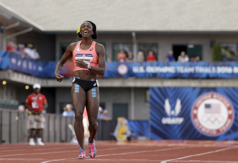 Alysia Montano reacts after falling during the women's 800-meter final at the U.S. Olympic Track and Field Trials, Monday, July 4, 2016, in Eugene Ore. (AP Photo/Marcio Jose Sanchez)