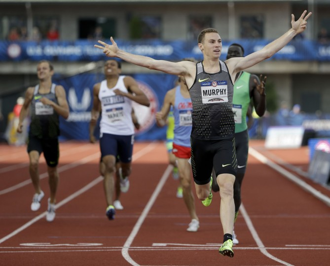 Clayton Murphy reacts after winning the men's 800-meter final at the U.S. Olympic Track and Field Trials, Monday, July 4, 2016, in Eugene Ore. (AP Photo/Marcio Jose Sanchez)