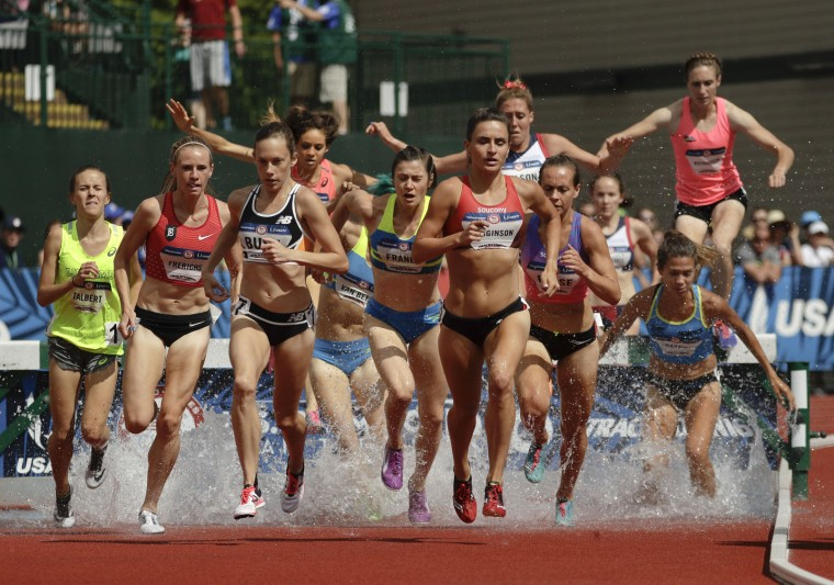 Women compete in the 3000-meter steeplechase at the U.S. Olympic Track and Field Trials, Monday, July 4, 2016, in Eugene Ore. (AP Photo/Charlie Riedel)