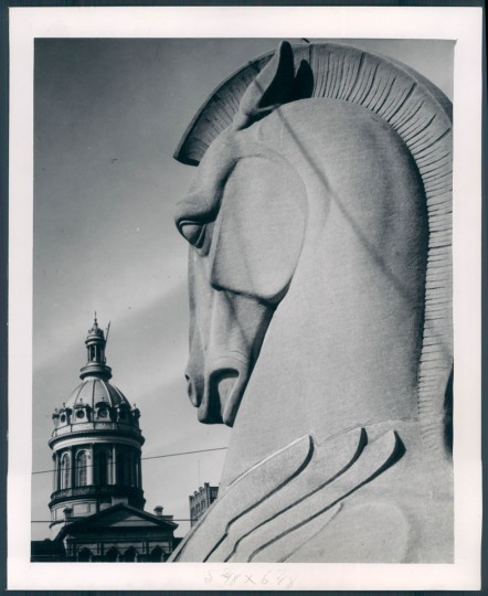Winged horse on War Memorial Plaza 1946