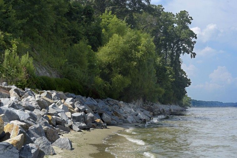 Boulders have been added to the base of the cliffs at Western Shores Estates to help with erosion. When wet and under certain conditions, the sea floor along the cliffs has the same property as quicksand. (Algerina Perna/Baltimore Sun)