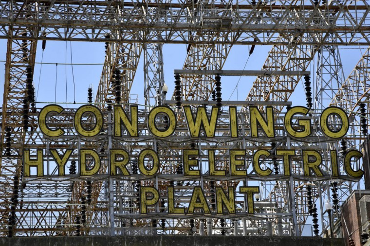 When it is lit, the neon sign at the Exelon Conowingo Hydroelectric Plant is powered by electricity generated at the plant, which has been producing electricity on the Susquehanna River since 1928. (Barbara Haddock Taylor, Baltimore Sun)