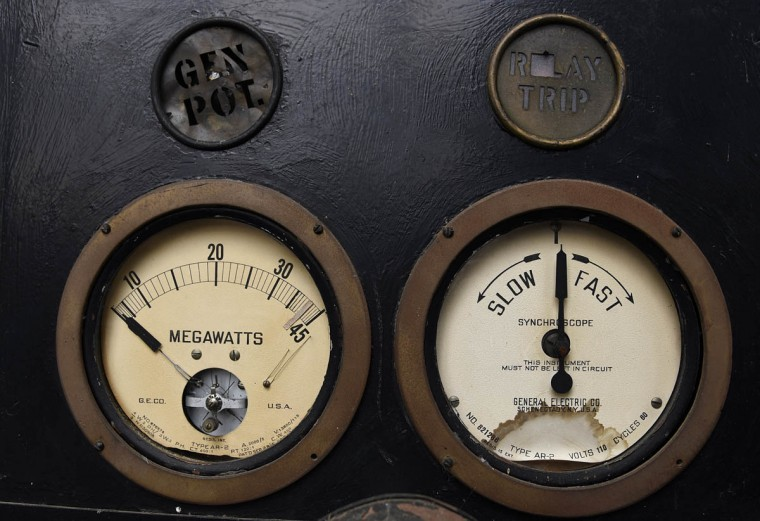 These 1920s gauges are no longer operational, but Exelon has saved them because of their interesting historical and aesthetic value. They are in the turbine hall at the Conowingo Hydroelectric Plant, which has been producing electricity on the Susquehanna River since 1928. (Barbara Haddock Taylor, Baltimore Sun)