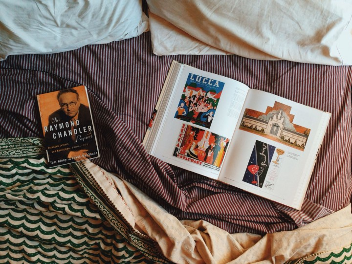 Lingering with some books in bed before heading out again.