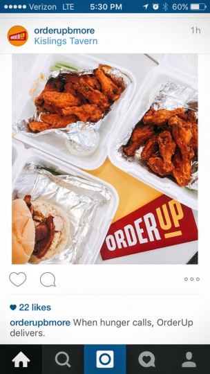 Snapped a picture so that the team could share it on the @orderupbmore Instagram account.