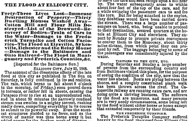 The Sun's report following the damaging 1868 flood that killed 43 people.