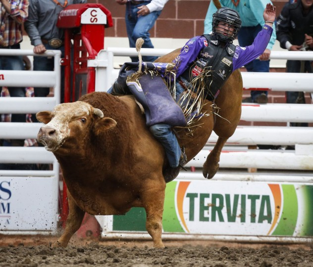 Chandler Bownds, of Lubbock, Texas, rides Sugar Smack during bull riding rodeo action at the Calgary Stampede in Calgary, Alberta, Sunday, July 10, 2016. (Jeff McIntosh/The Canadian Press via AP)