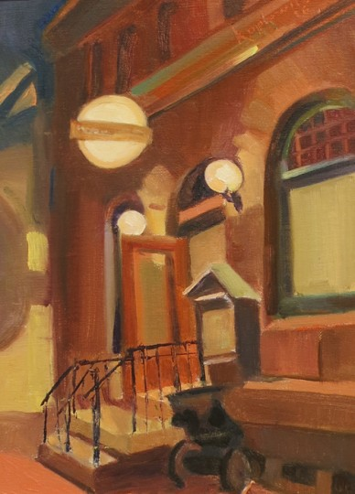 "Barry Koplowitz's painting,""Ellicott Mills Brewery,"" of Ellicott Mills Brewing Company near the top of Main Street. (Howard County Arts Council)"