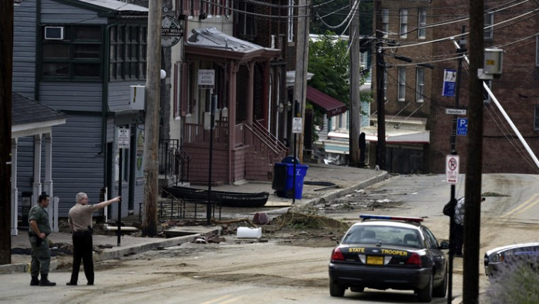 The brewpub and its block on Aug. 1, two days after the flood. (Barbara Haddock Taylor/Baltimore Sun)