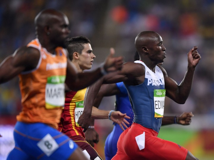 Panama's Alonso Edward competes in the Men's 200m Semifinal during the athletics event at the Rio 2016 Olympic Games at the Olympic Stadium in Rio de Janeiro on August 17, 2016. (Fabrice Coffrini/AFP/Getty Images)